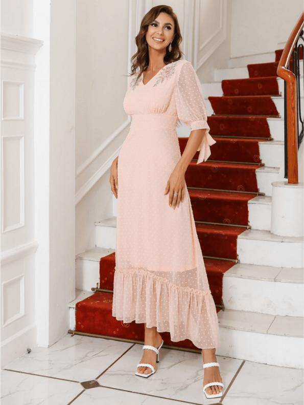 Secret Wish Boutique Sukienka Koronkowa z Haftem Pudrowy Róż Falbanka z Krótkim Rękawem Midi