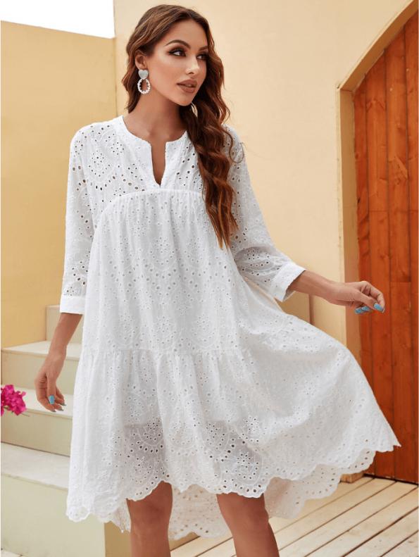 Secret Wish Boutique Sukienka Biała Koronkowa Przed Kolano z Długim Rękawem (1)