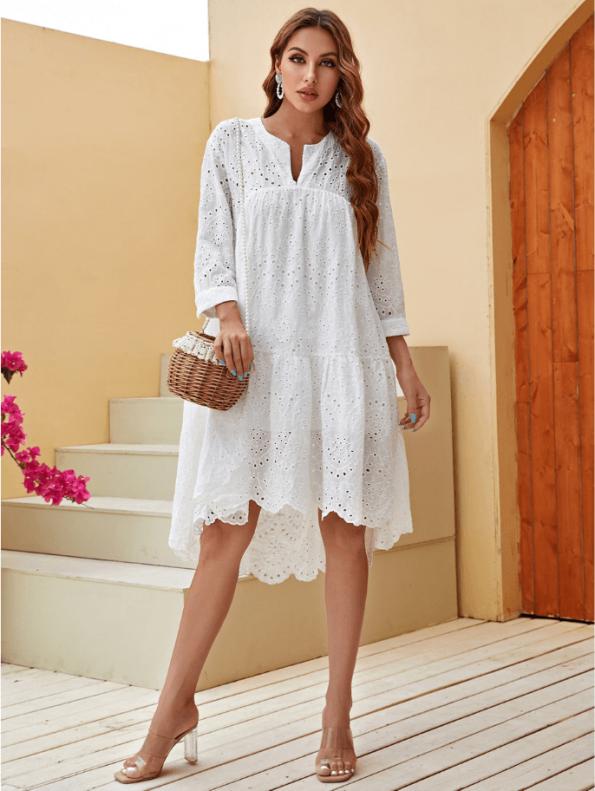 Secret Wish Boutique Sukienka Biała Koronkowa Przed Kolano z Długim Rękawem (2)