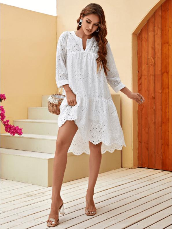 Secret Wish Boutique Sukienka Biała Koronkowa Przed Kolano z Długim Rękawem