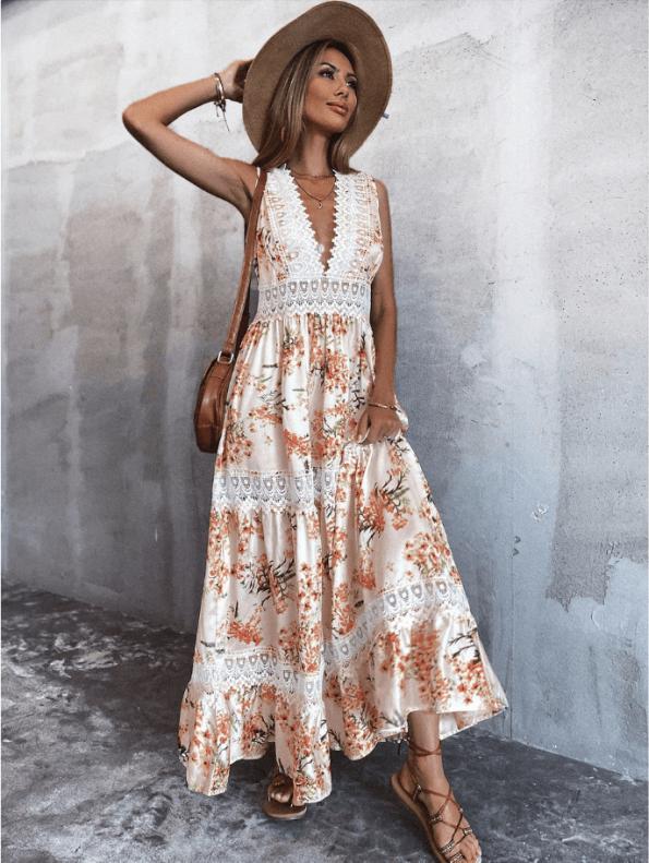 Secret Wish Boutique Sukienka Biała w Kwiaty Bez Rękawów Długa Maxi (1)