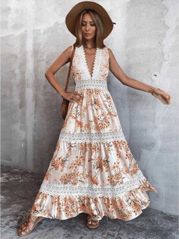Secret Wish Boutique Sukienka Biała w Kwiaty Bez Rękawów Długa Maxi (2)