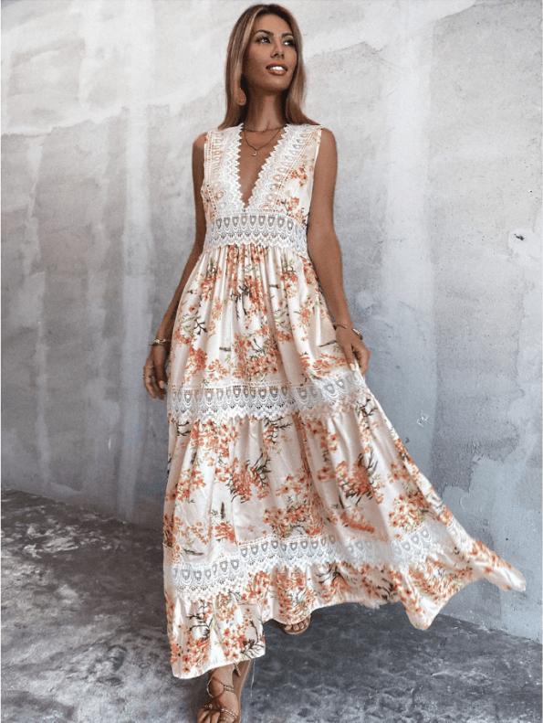 Secret Wish Boutique Sukienka Biała w Kwiaty Bez Rękawów Długa Maxi (3)