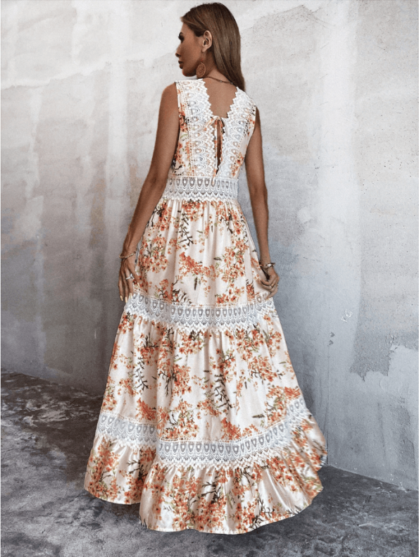 Secret Wish Boutique Sukienka Biała w Kwiaty Bez Rękawów Długa Maxi (4)