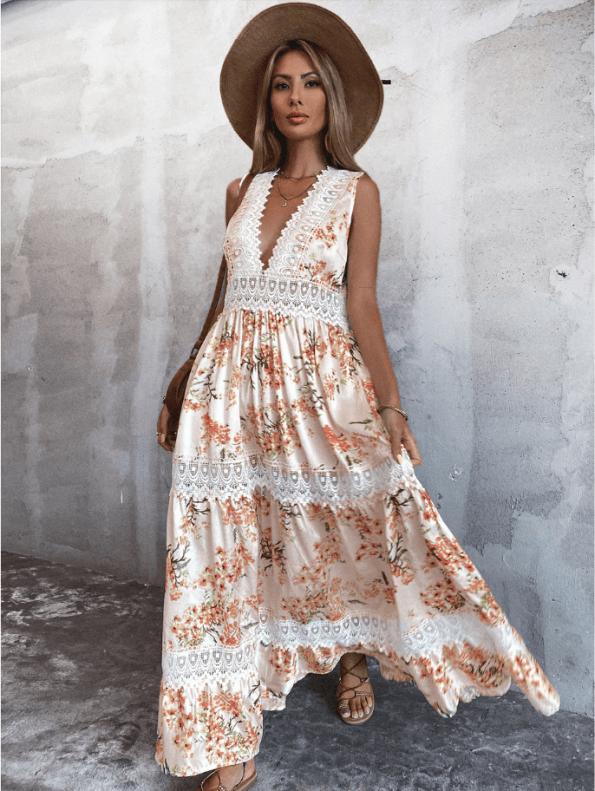 Secret Wish Boutique Sukienka Biała w Kwiaty Bez Rękawów Długa Maxi
