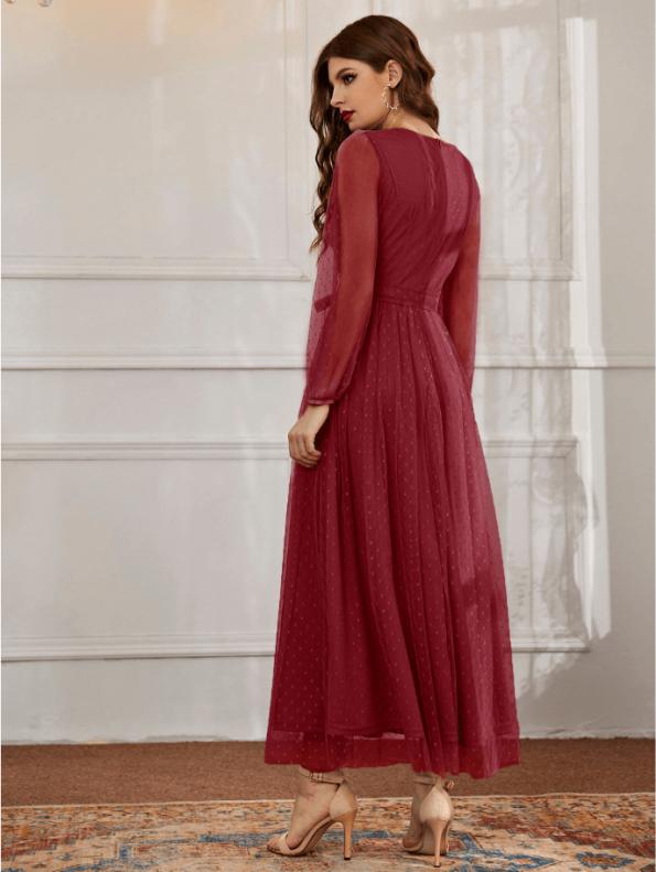 Secret Wish Boutique Sukienka Bordowa Koronkowa Wizytowa z Długim Rękawem Maxi (1)