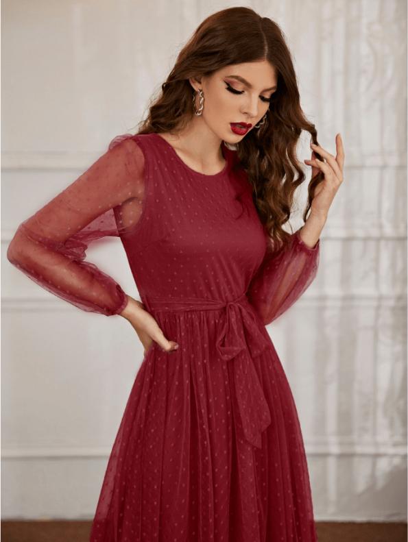 Secret Wish Boutique Sukienka Bordowa Koronkowa Wizytowa z Długim Rękawem Maxi (2)