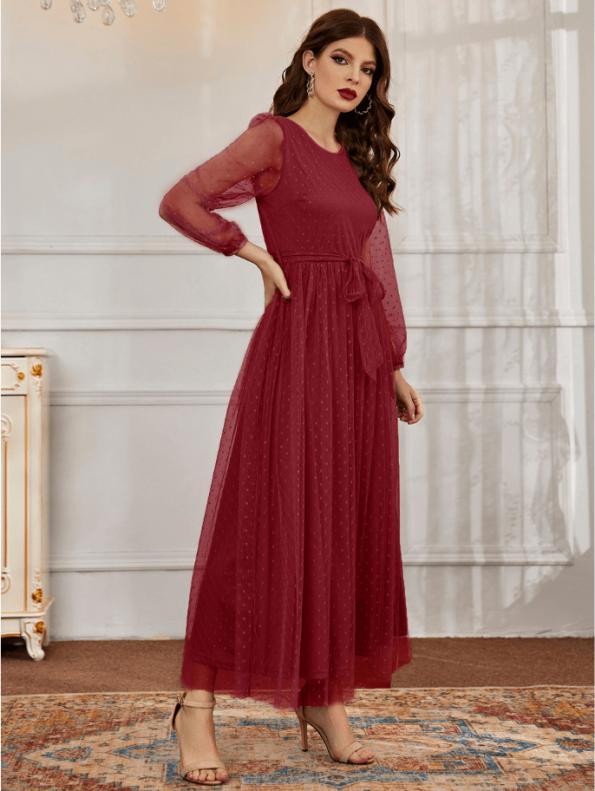 Secret Wish Boutique Sukienka Bordowa Koronkowa Wizytowa z Długim Rękawem Maxi (3)