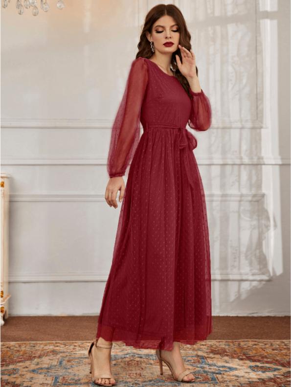 Secret Wish Boutique Sukienka Bordowa Koronkowa Wizytowa z Długim Rękawem Maxi
