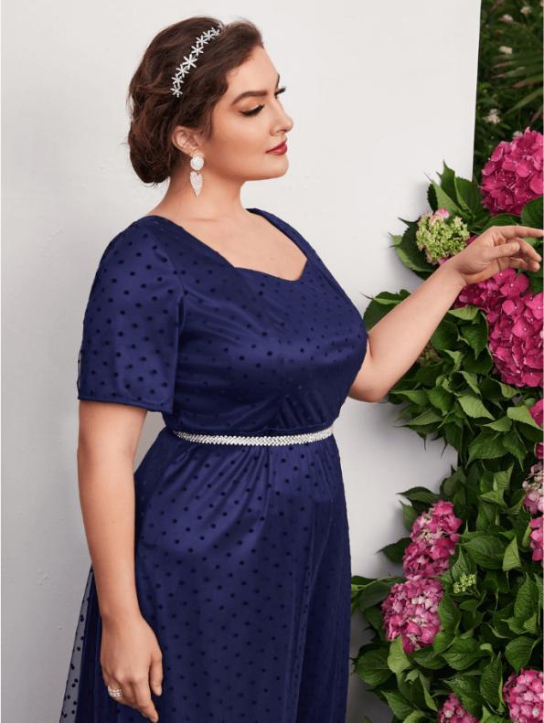 Secret Wish Boutique Sukienka Granatowa Tiulowa z Krótkim Rękawem Midi (1)