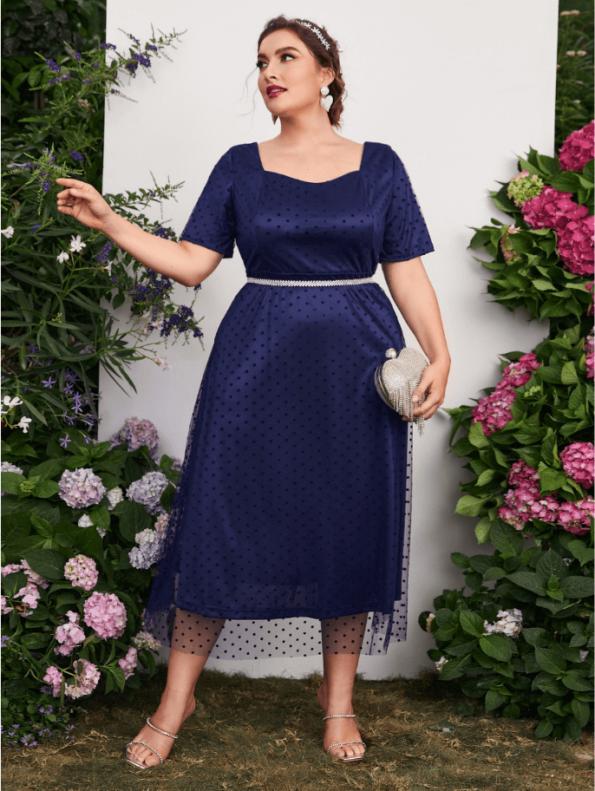 Secret Wish Boutique Sukienka Granatowa Tiulowa z Krótkim Rękawem Midi (2)