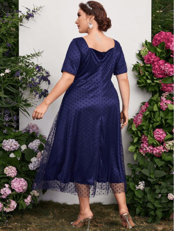 Secret Wish Boutique Sukienka Granatowa Tiulowa z Krótkim Rękawem Midi (4)