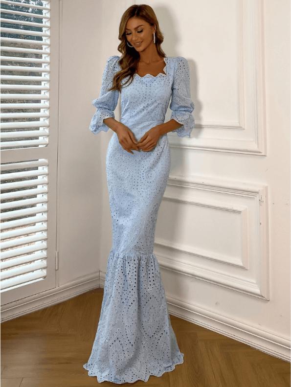 Secret Wish Boutique Sukienka Koronkowa Błękitna Niebieska z Długim Rękawem Maxi (1)