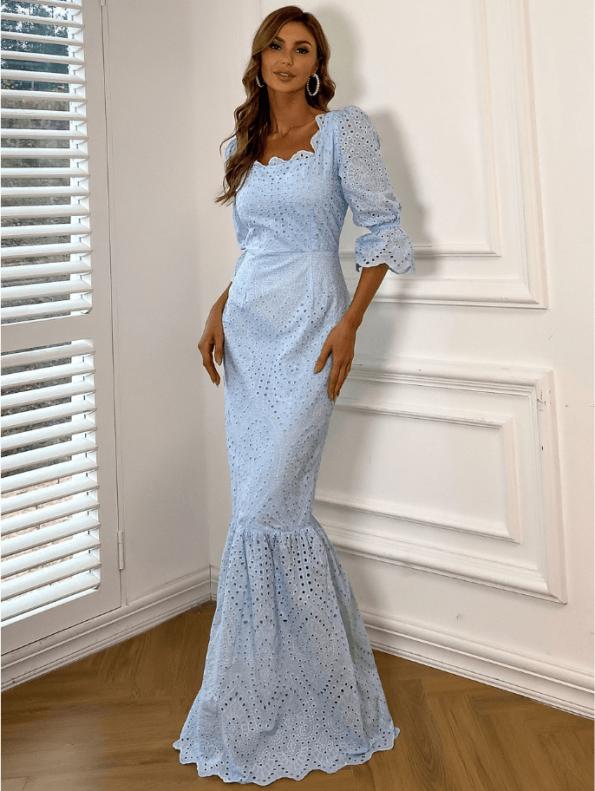 Secret Wish Boutique Sukienka Koronkowa Błękitna Niebieska z Długim Rękawem Maxi (3)