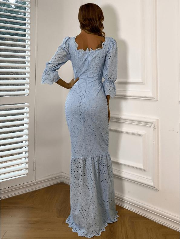 Secret Wish Boutique Sukienka Koronkowa Błękitna Niebieska z Długim Rękawem Maxi (4)