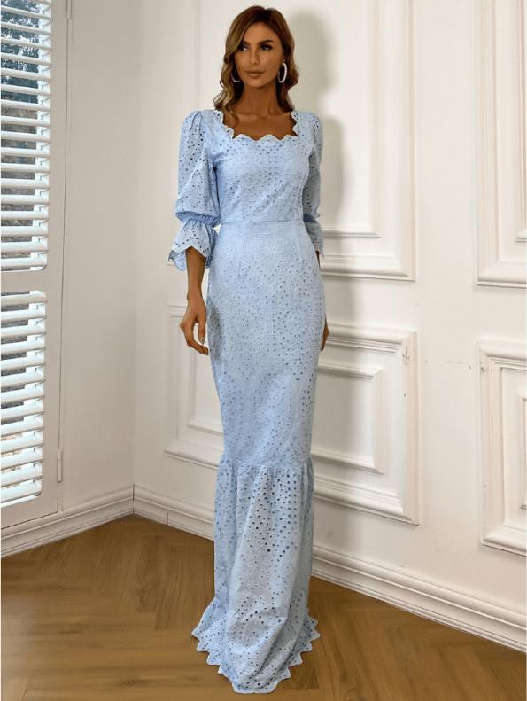 Secret Wish Boutique Sukienka Koronkowa Błękitna Niebieska z Długim Rękawem Maxi