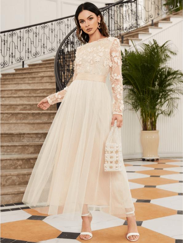 Secret Wish Boutique Sukienka Koronkowa Ecru Beżowa z Długim Rękawem Maxi (1)