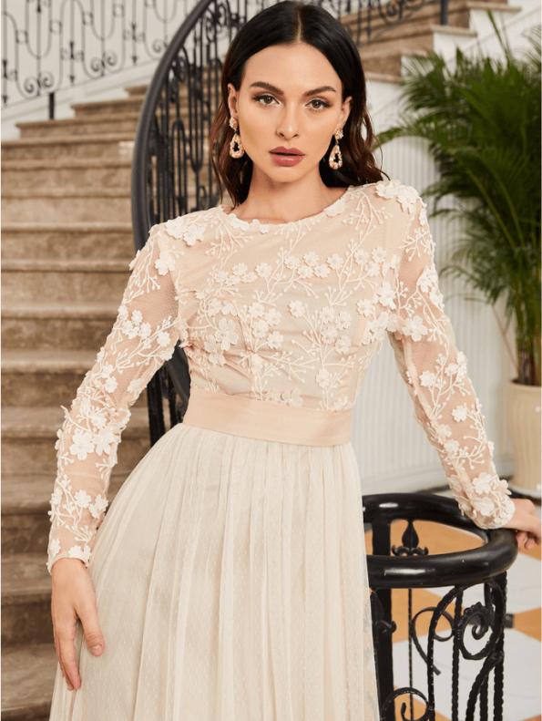 Secret Wish Boutique Sukienka Koronkowa Ecru Beżowa z Długim Rękawem Maxi (3)