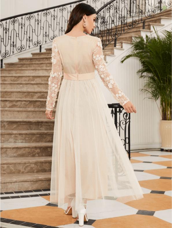 Secret Wish Boutique Sukienka Koronkowa Ecru Beżowa z Długim Rękawem Maxi (4)