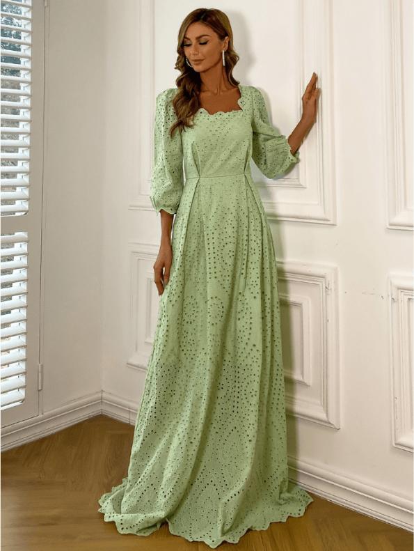 Secret Wish Boutique Sukienka Koronkowa Oliwkowa Zielona z Długim Rękawem Maxi (1)