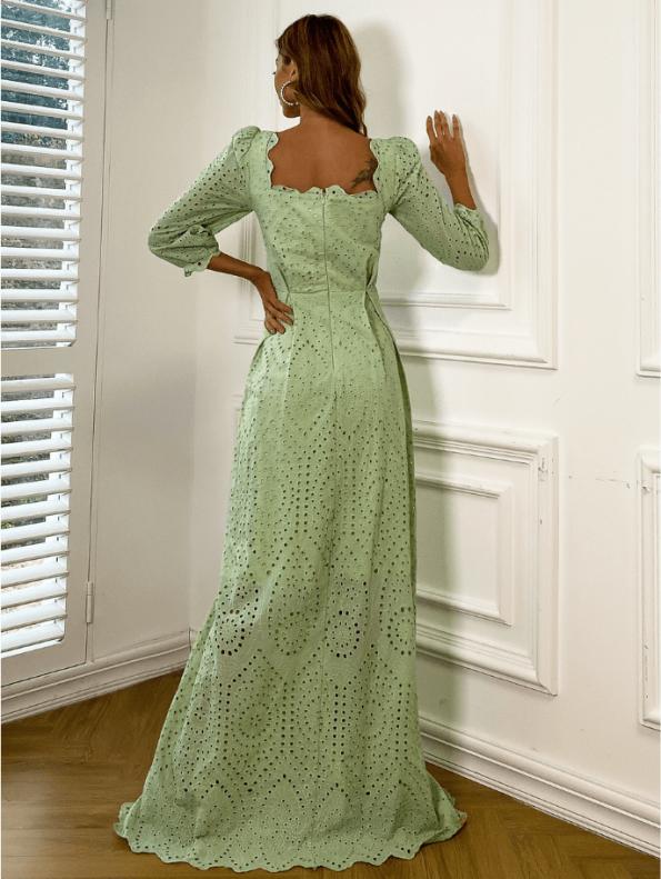 Secret Wish Boutique Sukienka Koronkowa Oliwkowa Zielona z Długim Rękawem Maxi (3)