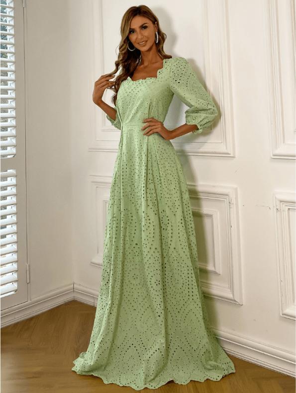 Secret Wish Boutique Sukienka Koronkowa Oliwkowa Zielona z Długim Rękawem Maxi (4)