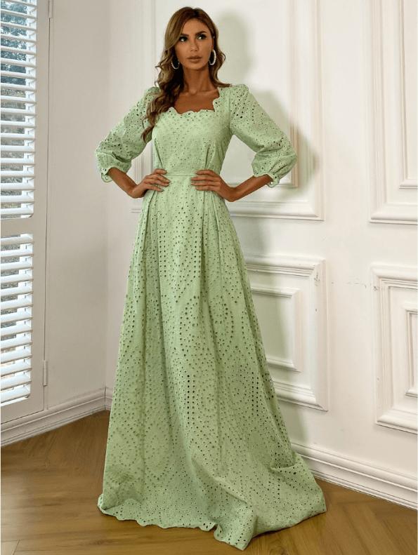 Secret Wish Boutique Sukienka Koronkowa Oliwkowa Zielona z Długim Rękawem Maxi