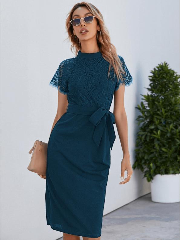 Secret Wish Boutique Sukienka Koronkowa Perol Morski z Krótkim Rękawem Midi