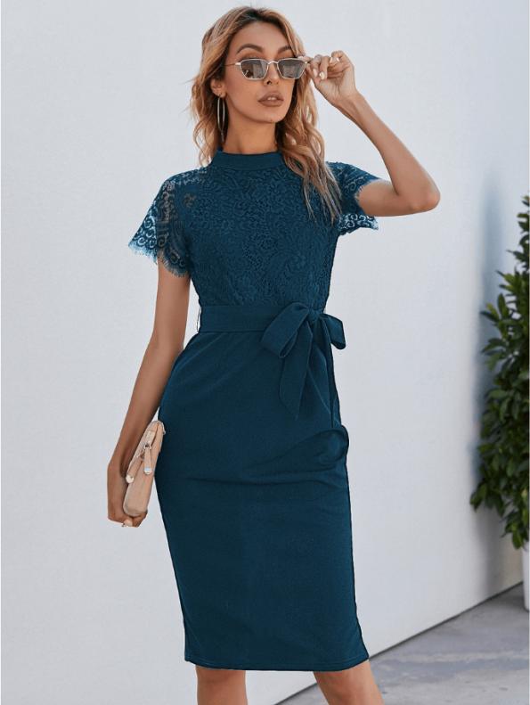 Secret Wish Boutique Sukienka Koronkowa Perol Morski z Krótkim Rękawem Midi (1)