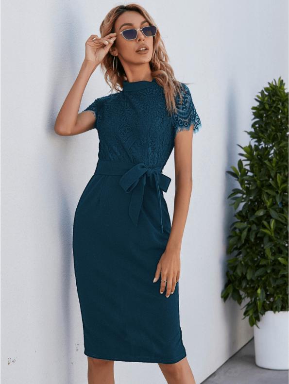 Secret Wish Boutique Sukienka Koronkowa Perol Morski z Krótkim Rękawem Midi (2)
