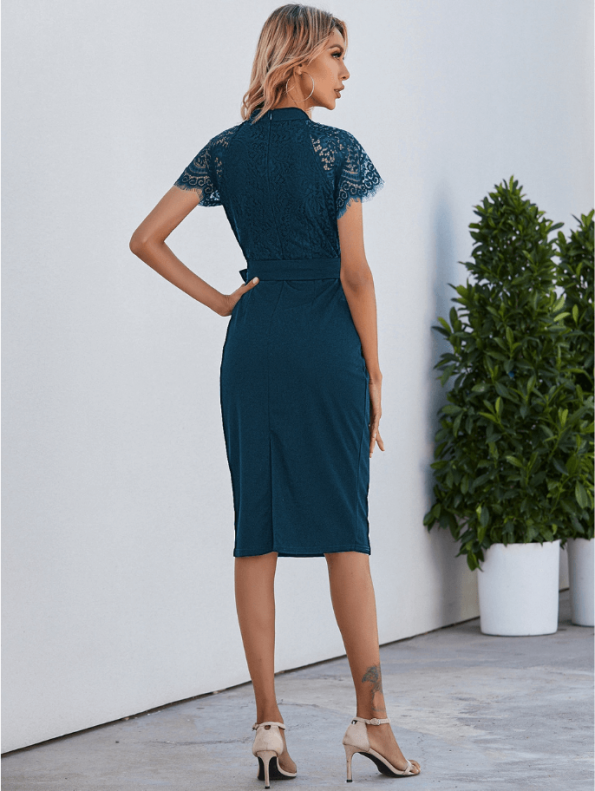 Secret Wish Boutique Sukienka Koronkowa Perol Morski z Krótkim Rękawem Midi (3)