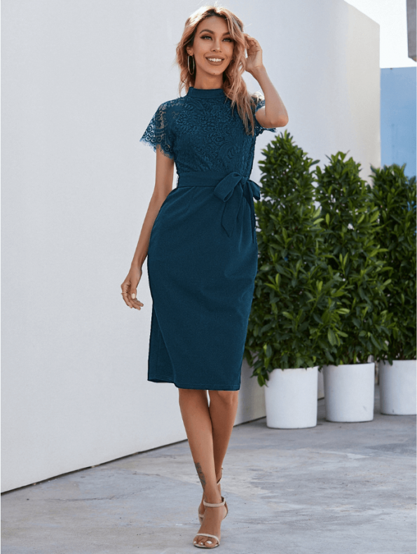 Secret Wish Boutique Sukienka Koronkowa Perol Morski z Krótkim Rękawem Midi (4)