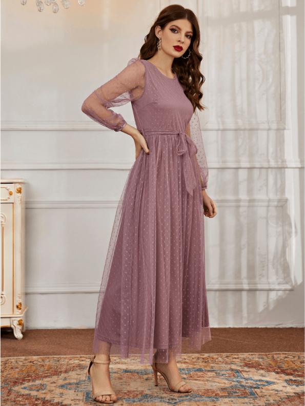 Secret Wish Boutique Sukienka Koronkowa Popielaty Róż z Długim Rękawem Maxi