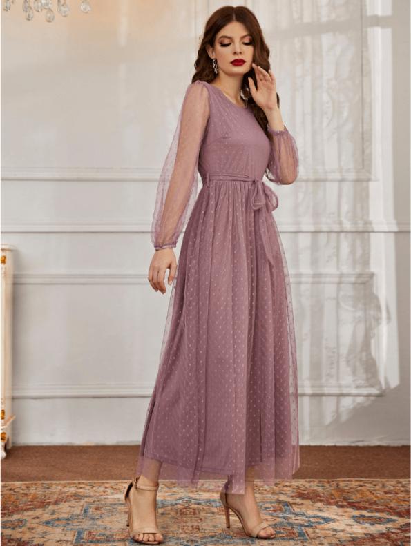 Secret Wish Boutique Sukienka Koronkowa Popielaty Róż z Długim Rękawem Maxi (1)