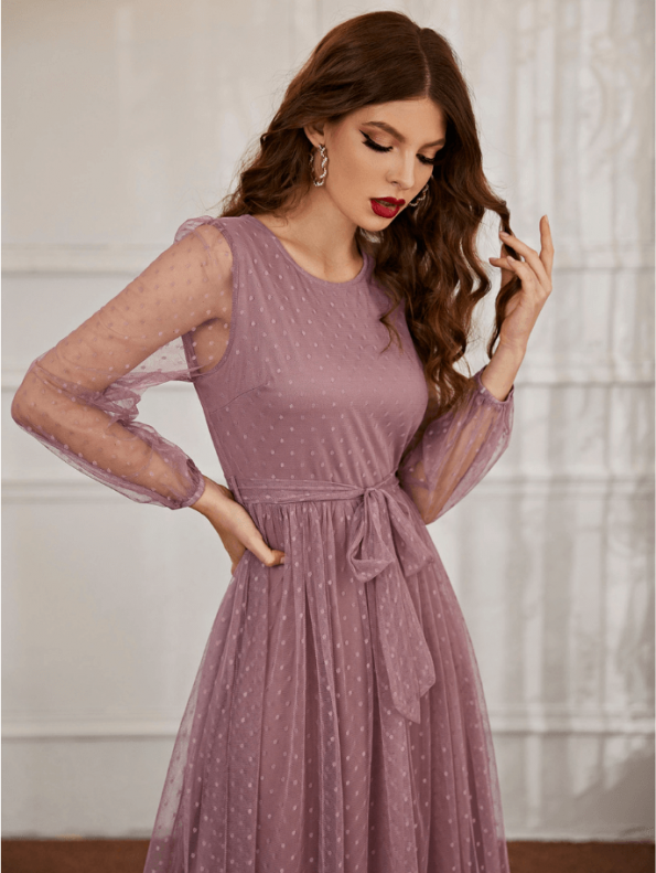 Secret Wish Boutique Sukienka Koronkowa Popielaty Róż z Długim Rękawem Maxi (2)