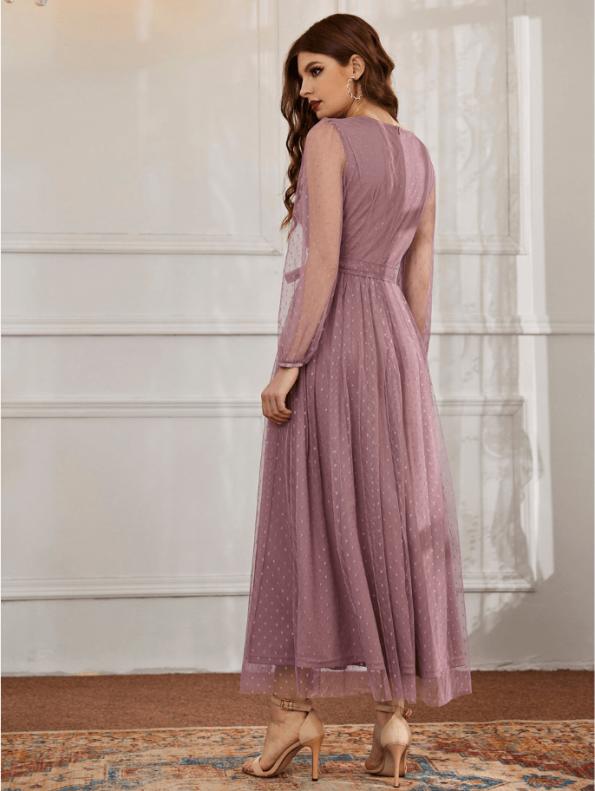 Secret Wish Boutique Sukienka Koronkowa Popielaty Róż z Długim Rękawem Maxi (3)