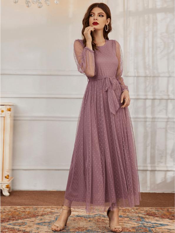 Secret Wish Boutique Sukienka Koronkowa Popielaty Róż z Długim Rękawem Maxi (4)