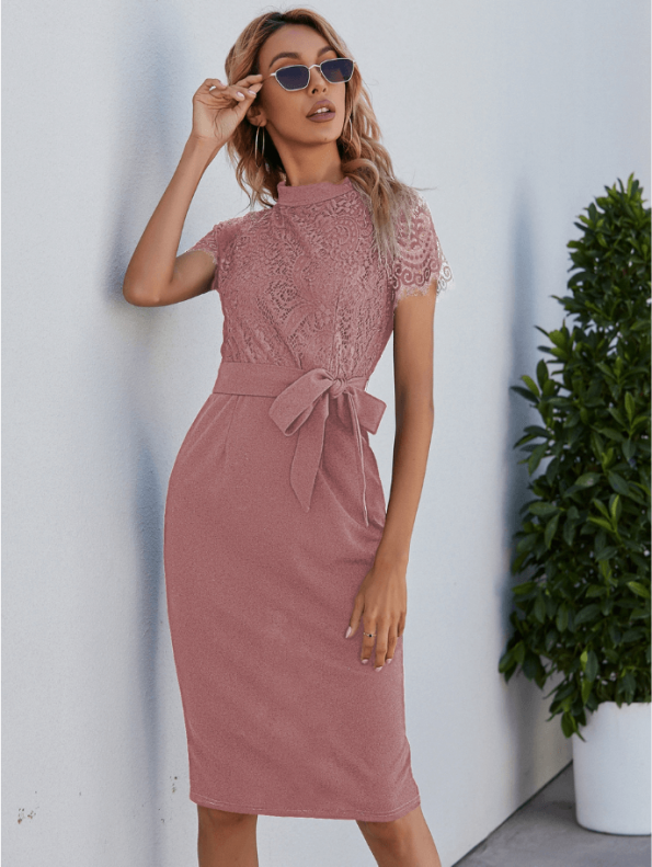 Secret Wish Boutique Sukienka Koronkowa Pudrowy Róż z Krótkim Rękawem Midi (2)