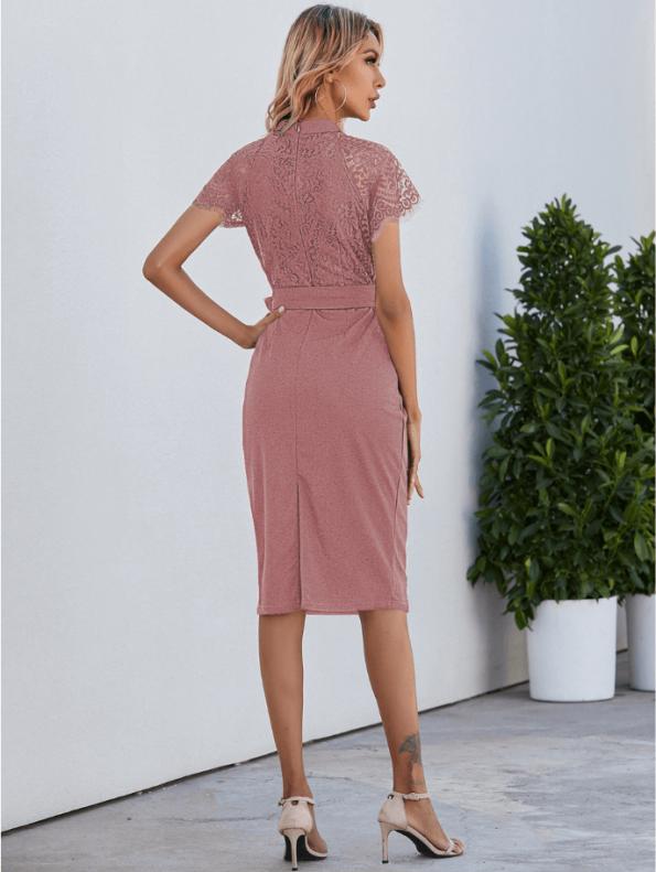 Secret Wish Boutique Sukienka Koronkowa Pudrowy Róż z Krótkim Rękawem Midi (3)