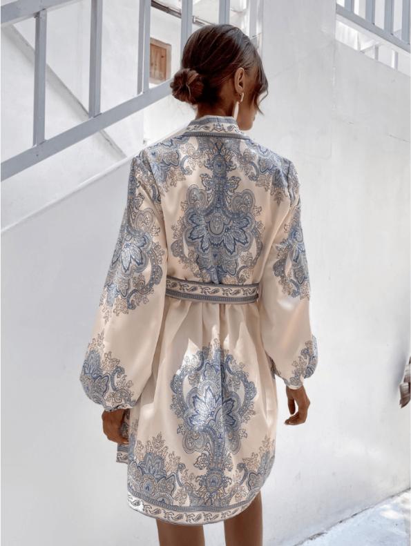 Secret Wish Boutique Sukienka Biała w Niebieskie Hafty z Długim Rękawem Mini (3)