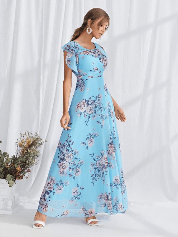 Secret Wish Boutique Sukienka Błękitna Lazurowa Niebieska w Kwiaty z Krótkim Rękawem Długa Maxi (1)