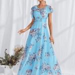 Secret Wish Boutique Sukienka Błękitna Lazurowa Niebieska w Kwiaty z Krótkim Rękawem Długa Maxi (2)