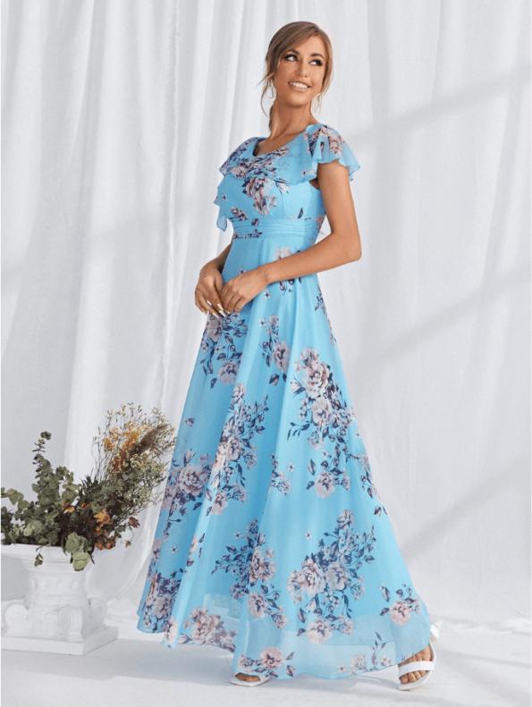 Secret Wish Boutique Sukienka Błękitna Lazurowa Niebieska w Kwiaty z Krótkim Rękawem Długa Maxi (4)
