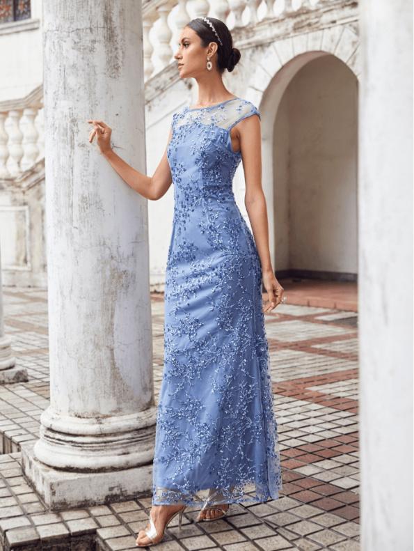 Secret Wish Boutique Sukienka Błękitna Niebieska Haftowana Bez Rękawów Maxi Długa (1)