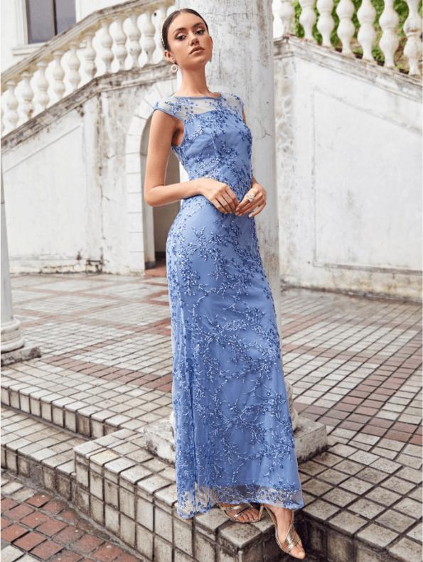 Secret Wish Boutique Sukienka Błękitna Niebieska Haftowana Bez Rękawów Maxi Długa (2)