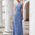 Secret Wish Boutique Sukienka Błękitna Niebieska Haftowana Bez Rękawów Maxi Długa (3)