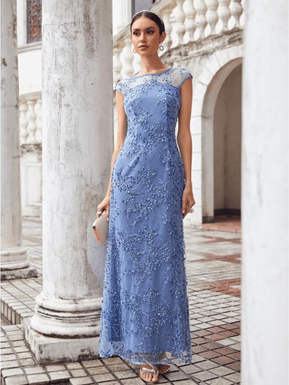 Secret Wish Boutique Sukienka Błękitna Niebieska Haftowana Bez Rękawów Maxi Długa (4)