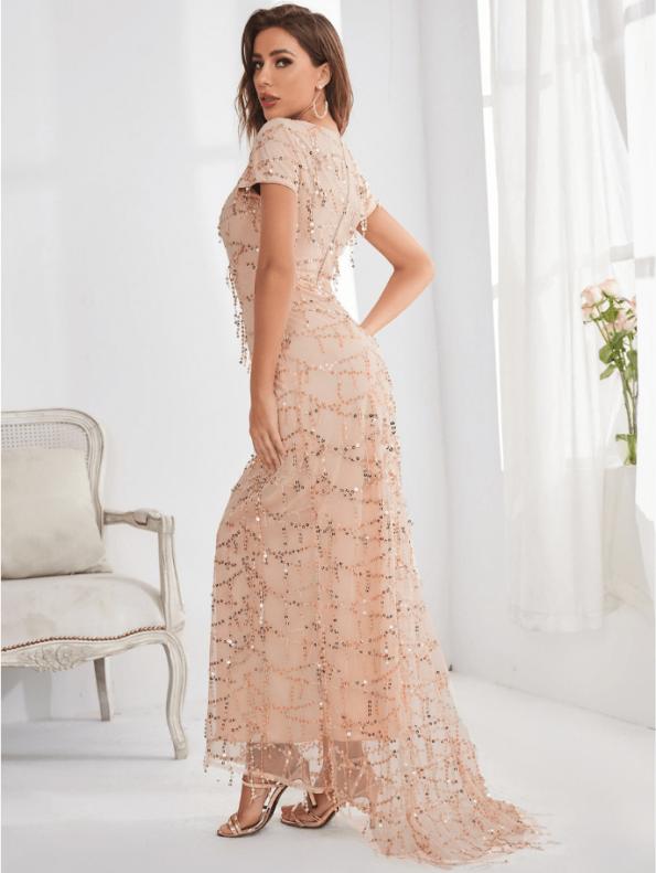 Secret Wish Boutique Sukienka Ecru Beżowa w Cekiny z Krótkim Rękawem Długa Maxi (2)