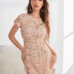 Secret Wish Boutique Sukienka Ecru Beżowa w Cekiny z Krótkim Rękawem Długa Maxi (1)