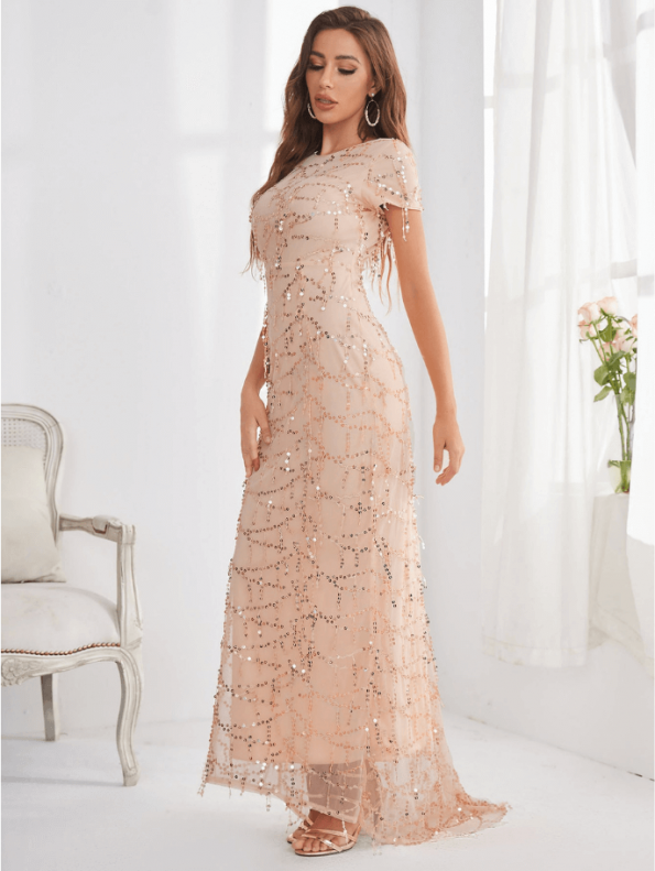 Secret Wish Boutique Sukienka Ecru Beżowa w Cekiny z Krótkim Rękawem Długa Maxi